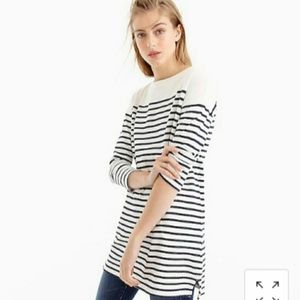 J. Crew Striped Boatneck Tunic Top Size Large